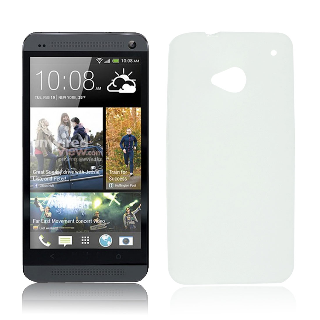 Protective Clear White Soft Plastic Case Cover Shell for HTC One M7