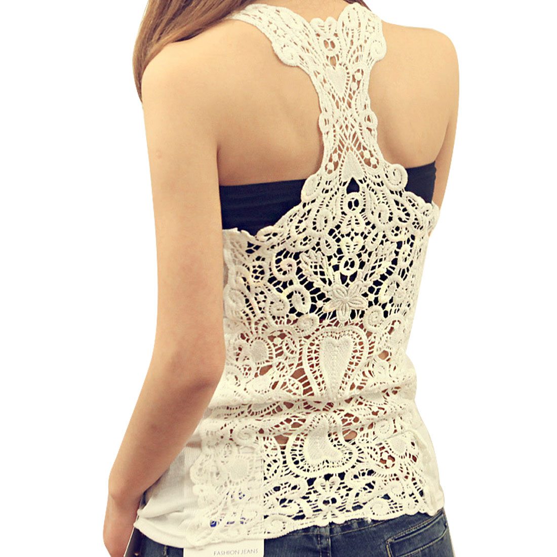 Woman Korea Style White Lace Spliced Close Fitting Racerback Tank Top XS