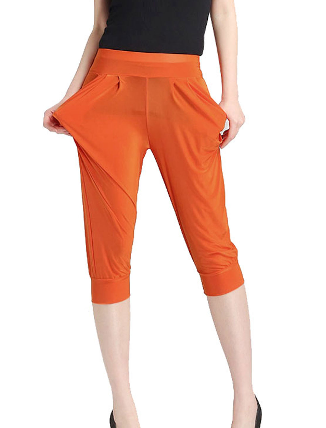 Stretchy Waist Slant Pockets Front Harem Pants Orange XS for Ladies