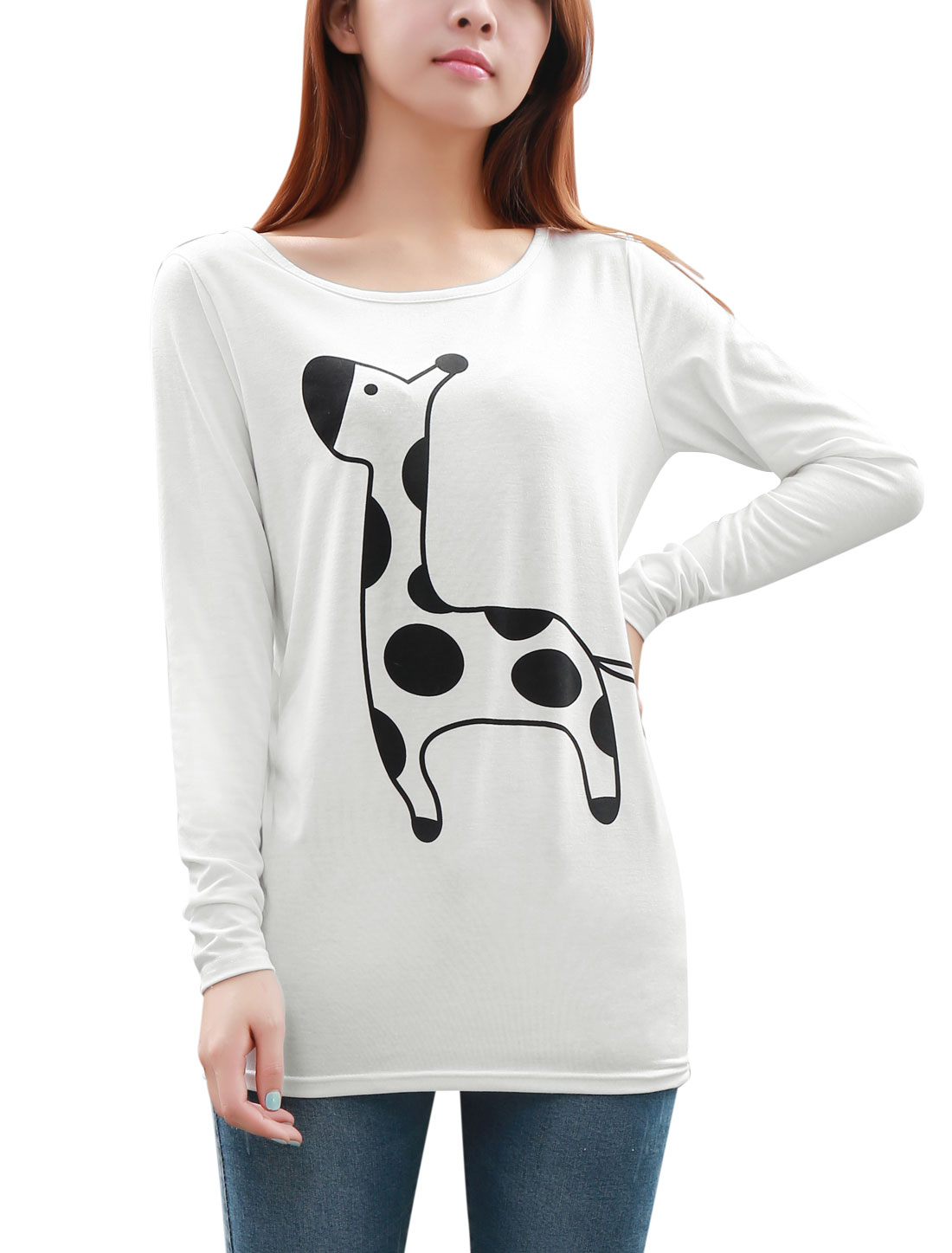 Lady White Long Sleeve Cartoon Pattern Design Tunic Shirt L