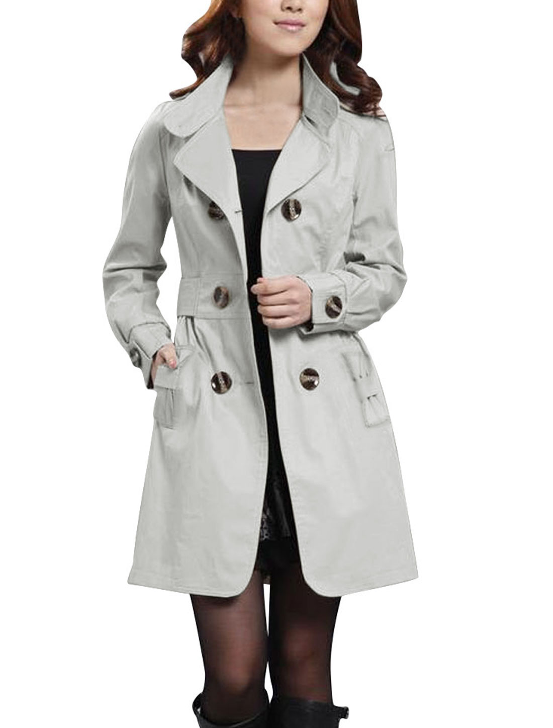 Lady Khaki Notched Lapel Long Sleeve Button Closure Casual Trench Coat L