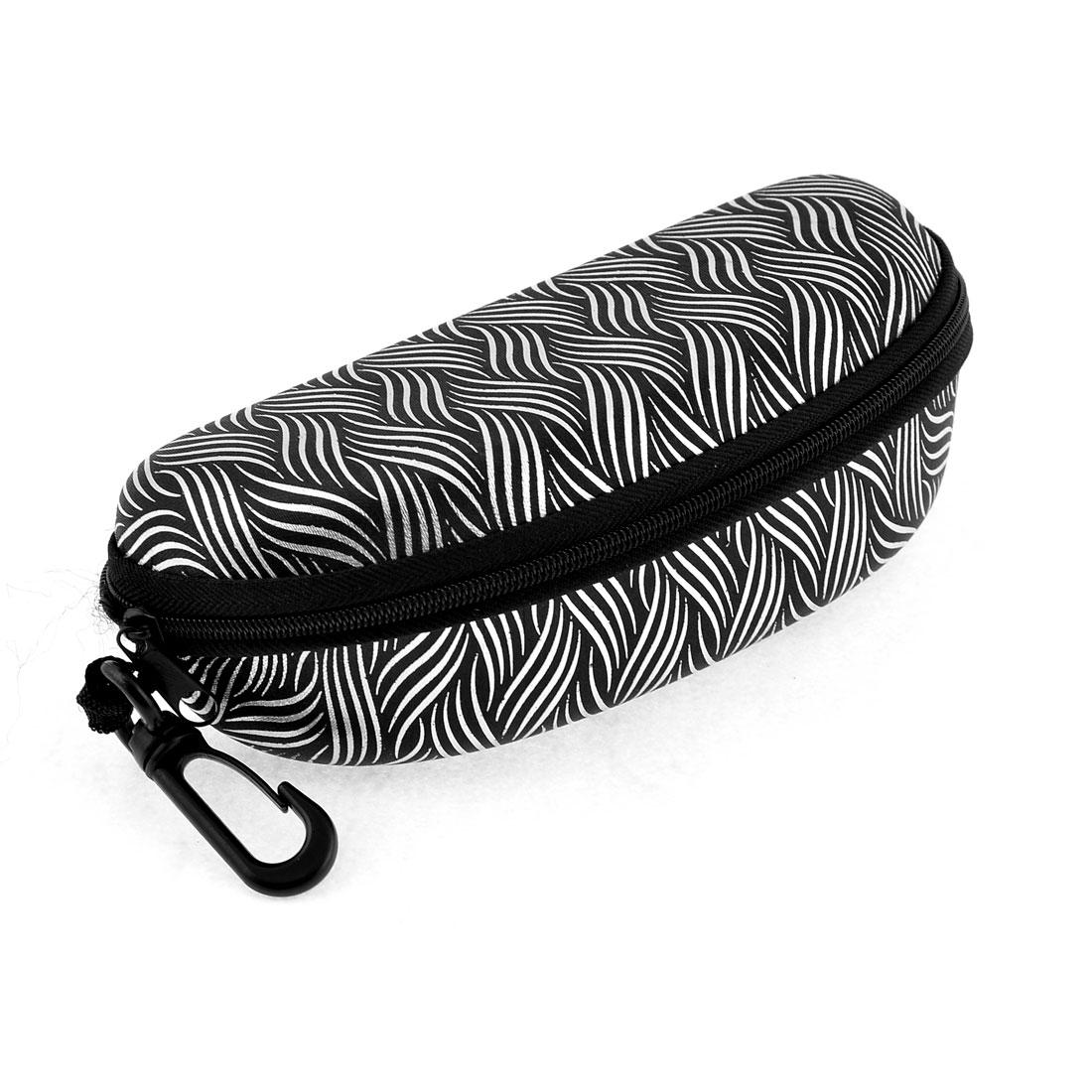 Black Nylon Shell Design Zipper Closure Sunglasses Eyeglasses Box w Hook