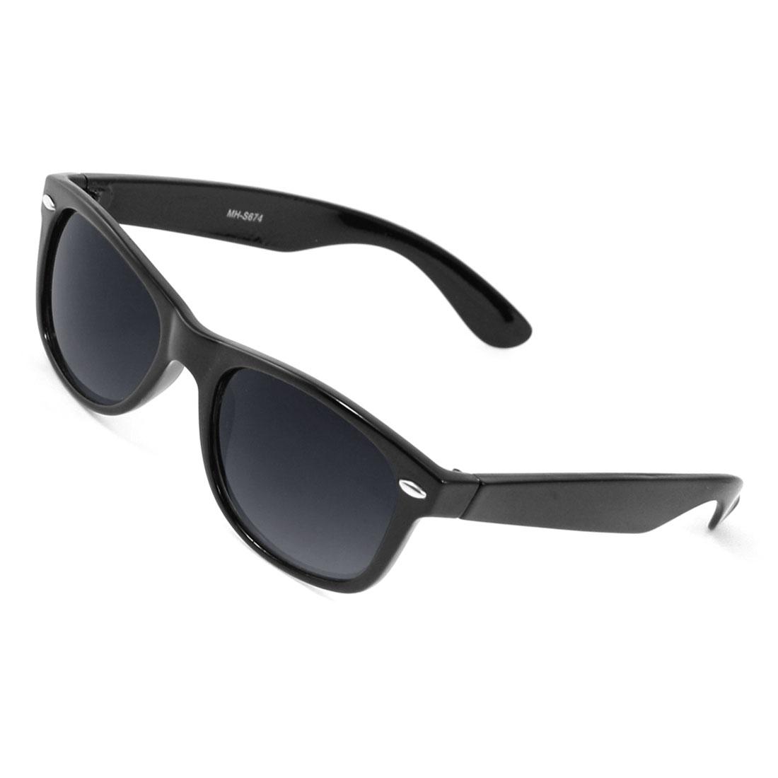 Lady Square Shaped Lens Full Rim Black Plastic Eyewear Sunglasses