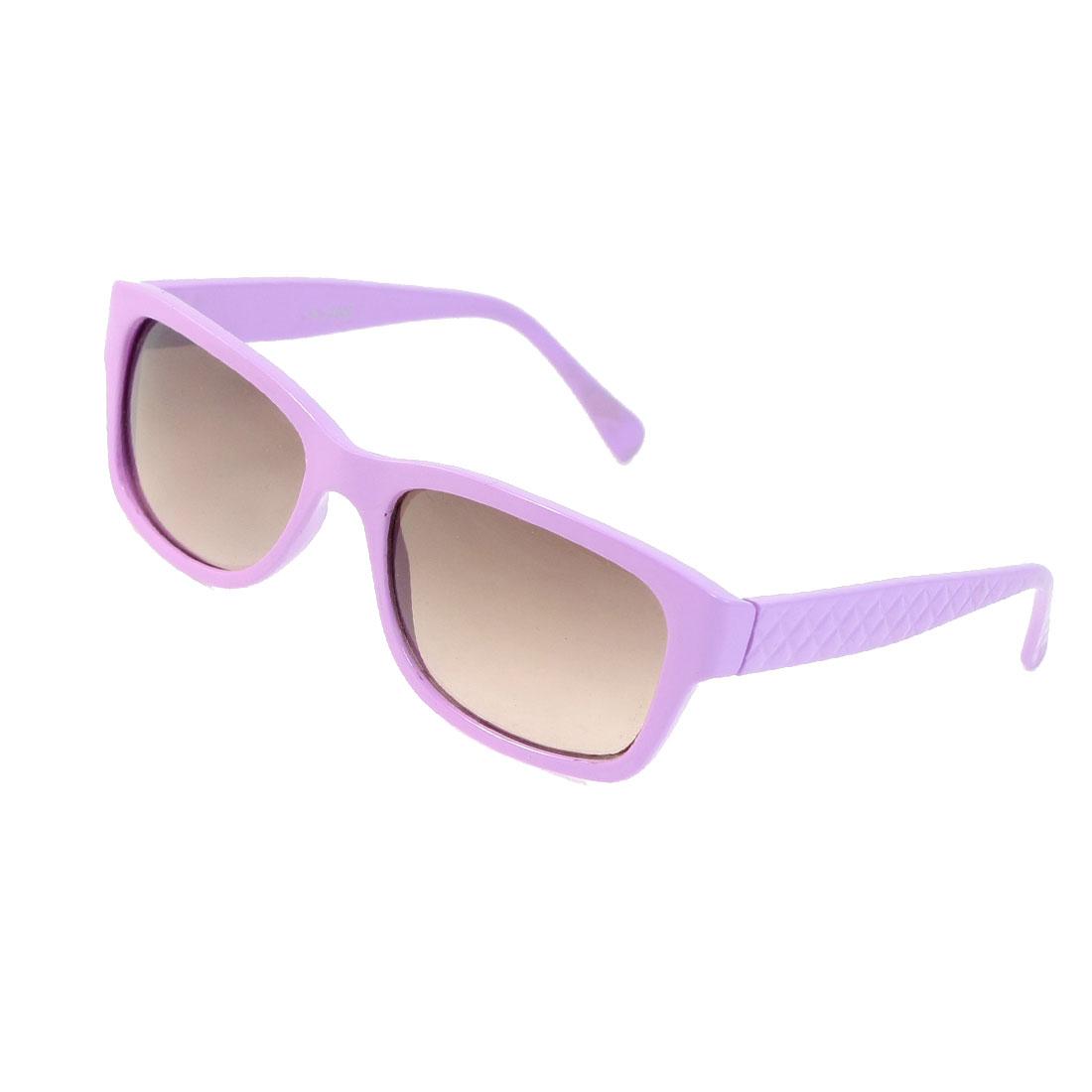Ladies Rectangle Shape Lens Full Rim Light Purple Plastic Sunglasses Eyewear
