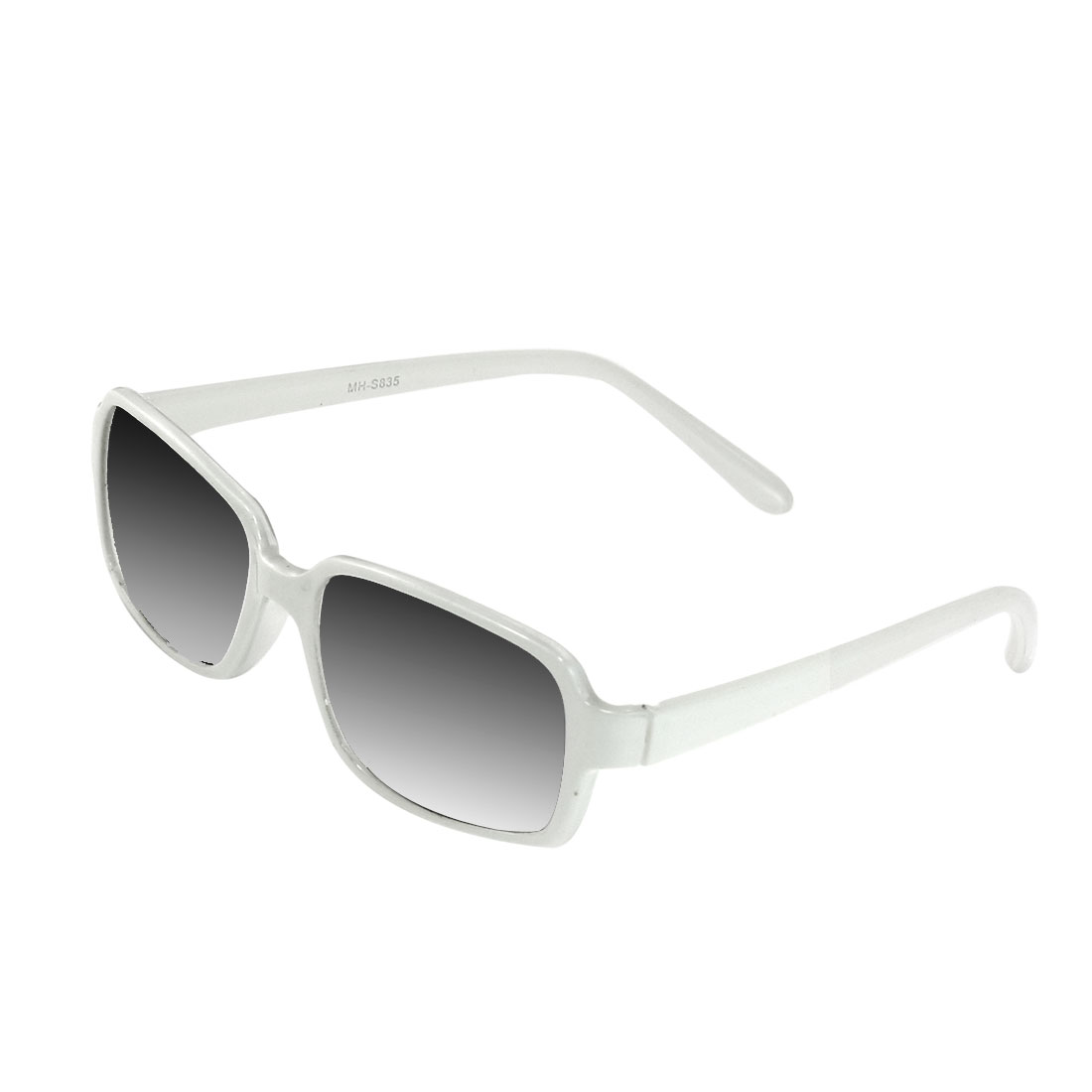 Gray Lens White Plastic Full Frame Sunglasses Eyewear for Women