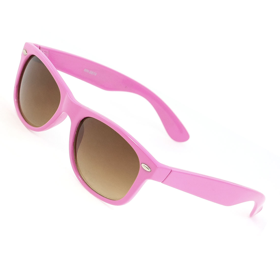 Brown Square Shape Lens Pink Plastic Folding Arms Sunglasses for Ladies