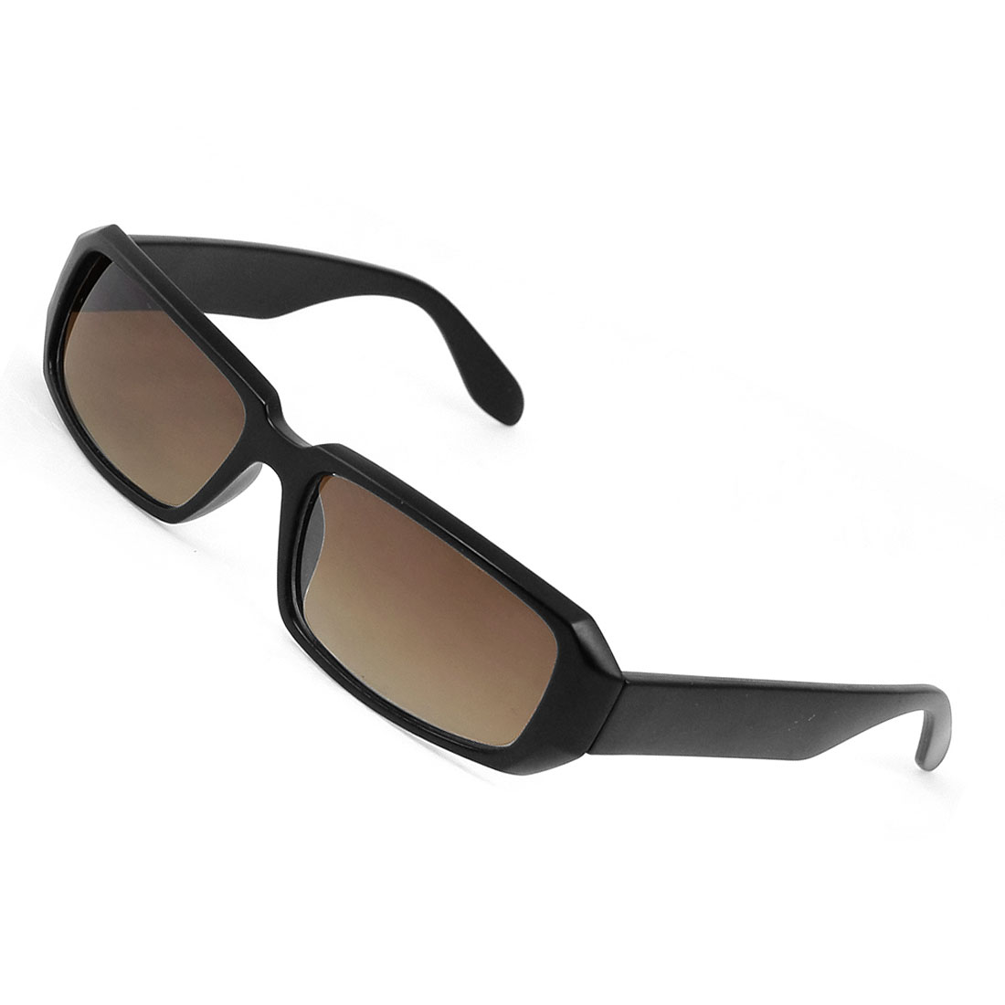 Black Plastic Full Frame Rectangle Shape Lens Sunglasses Eyewear for Lady