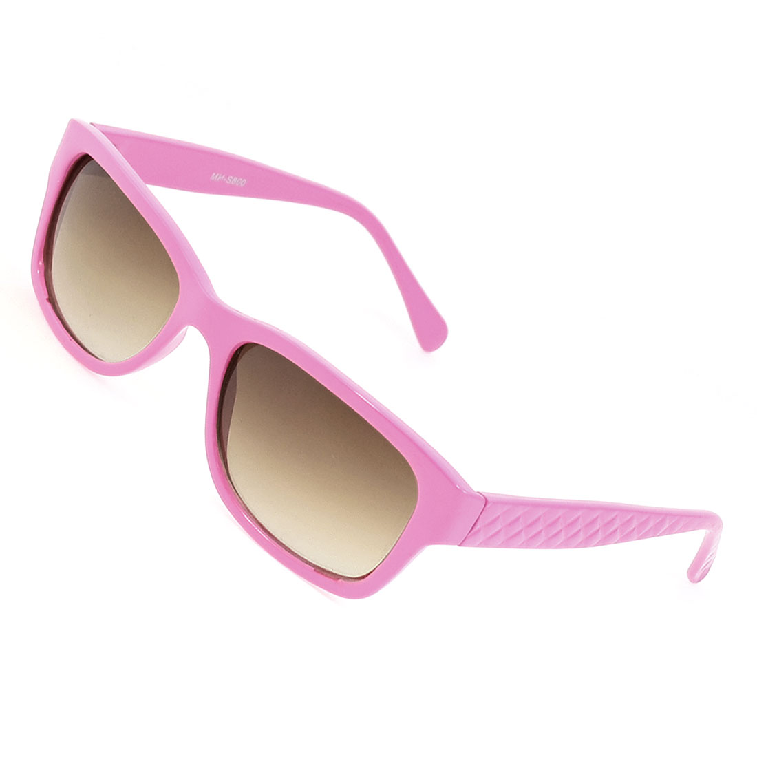 Brown Lens Pink Plastic Textured Arms Full Frame Sunglasses for Women