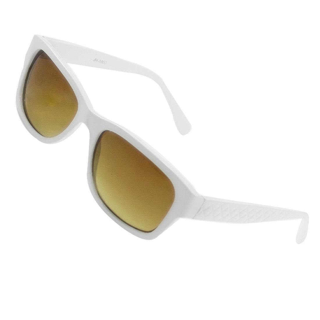 Women Rectangular Shape Lens White Plastic Full Frame Sunglasses Eyewear