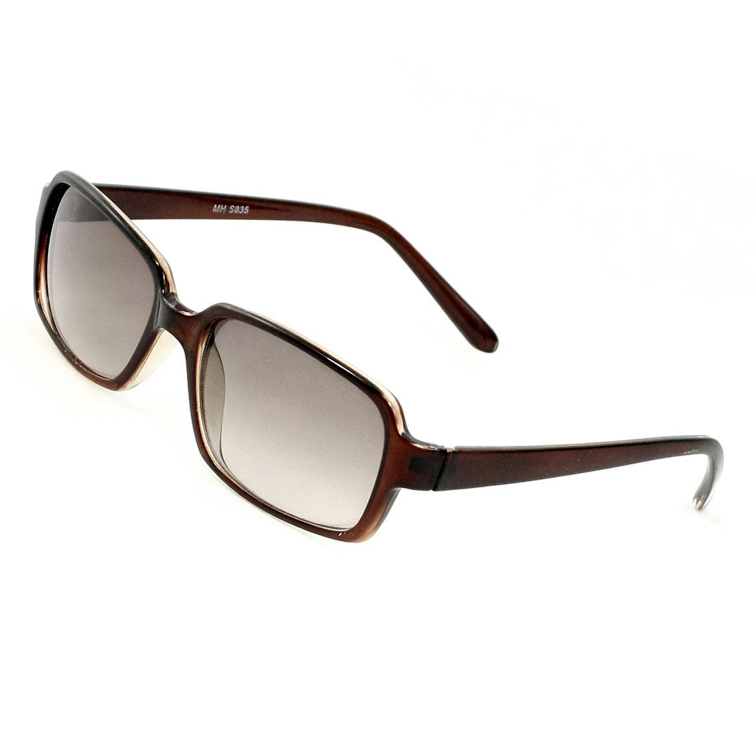 Women Single Bridge Plastic Full Rimmed Brown Sunglasses Eyewear