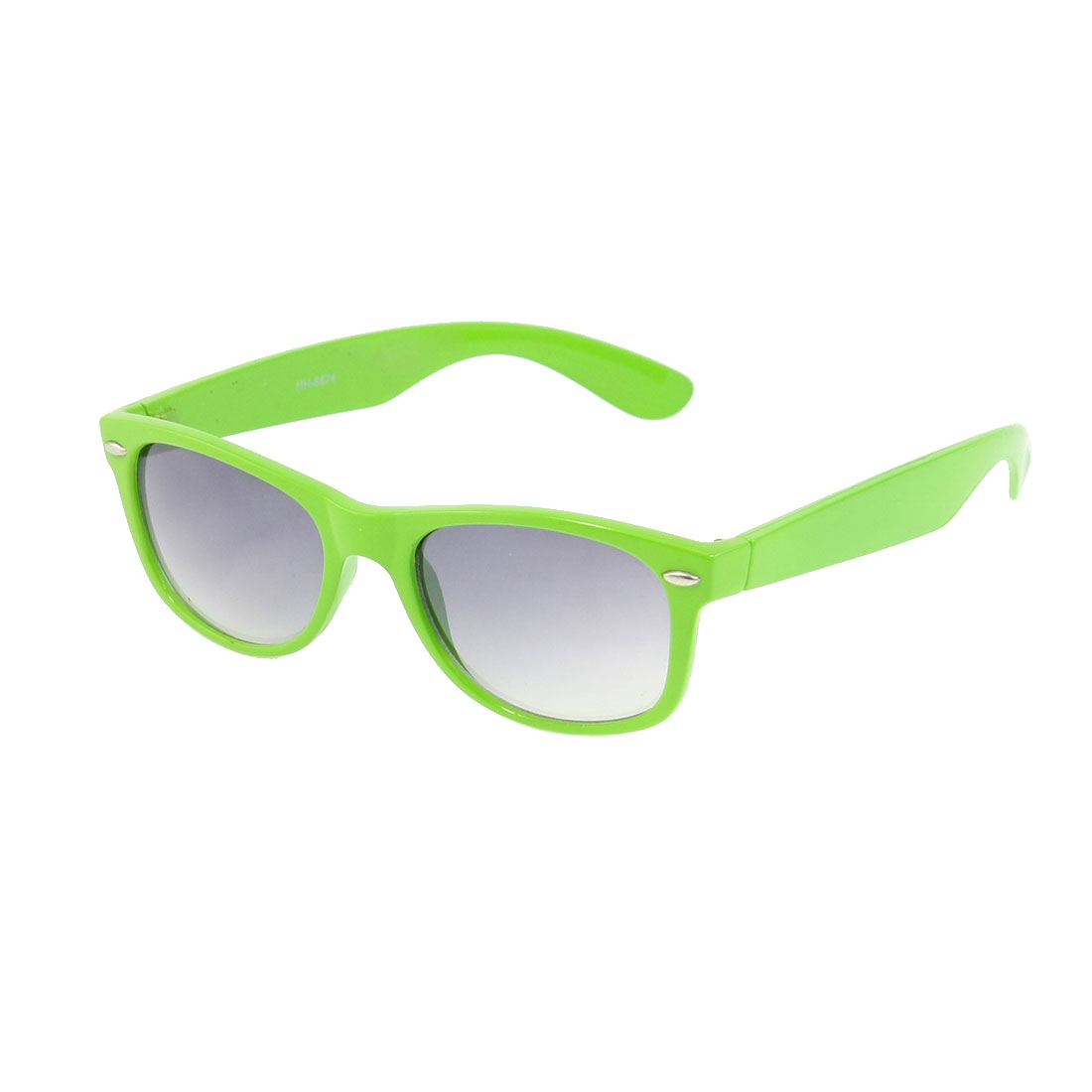 Ladies Light Green Plastic Folding Smooth Arms Single Bridge Sunglasses
