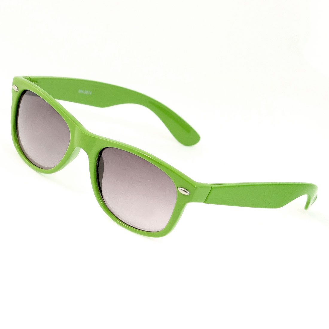 Light Green Plastic Single Bridge Gray Lens Eyewear Sunglasses for Lady