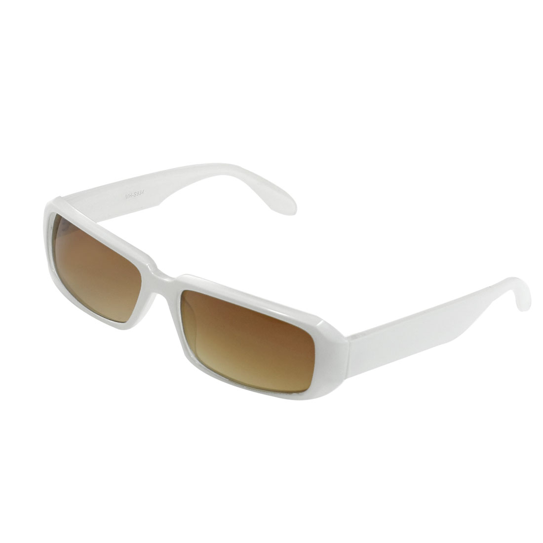 White Plastic Arms Light Brown Lens Protection Sunglasses Eyewear for Ladies