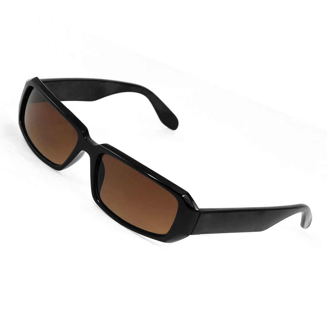 Ladies Black Plastic Arms Brown Lens Full Rim Protective Sunglasses Eyewear