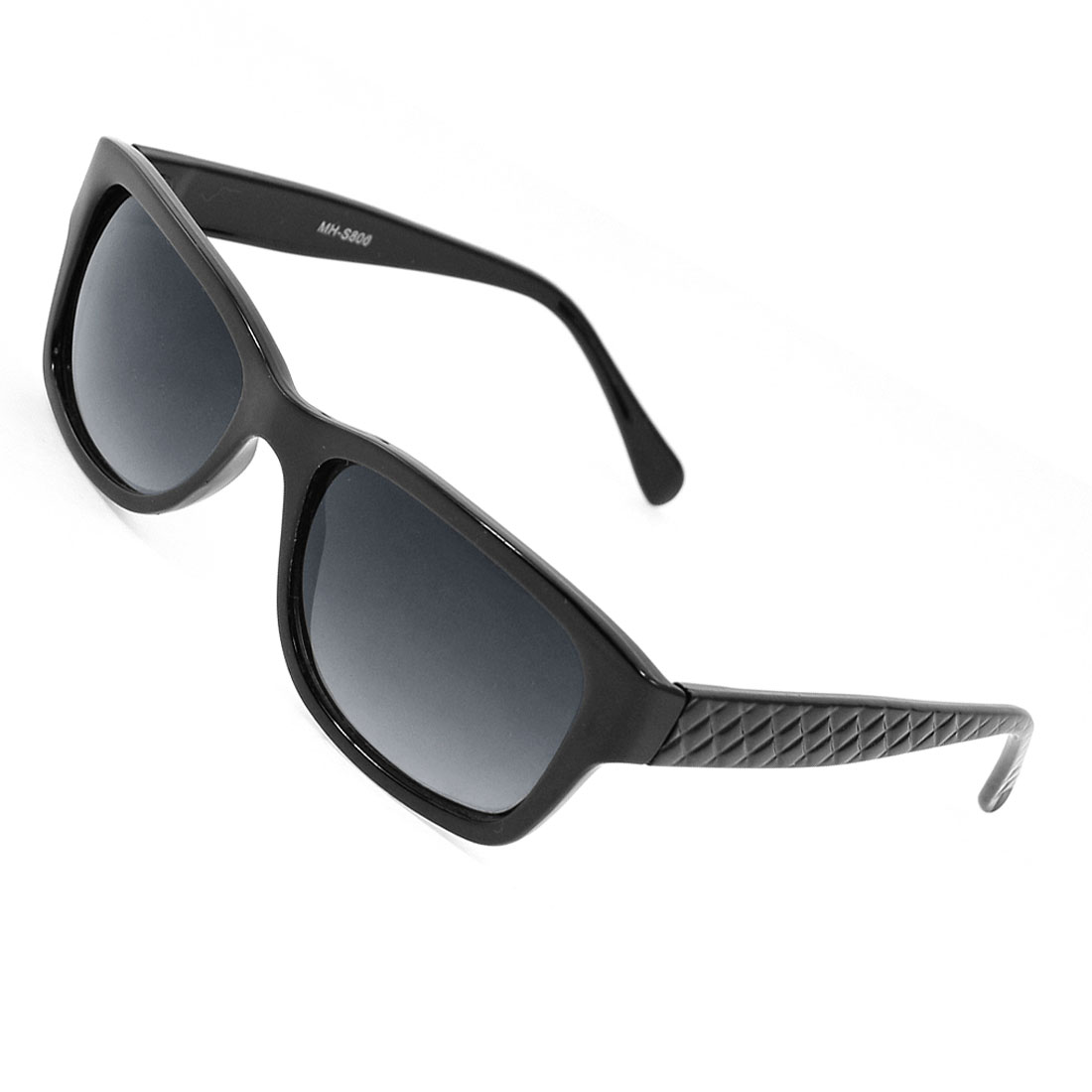 Black Lens Textured Plastic Arms Full Frame Sunglasses for Women