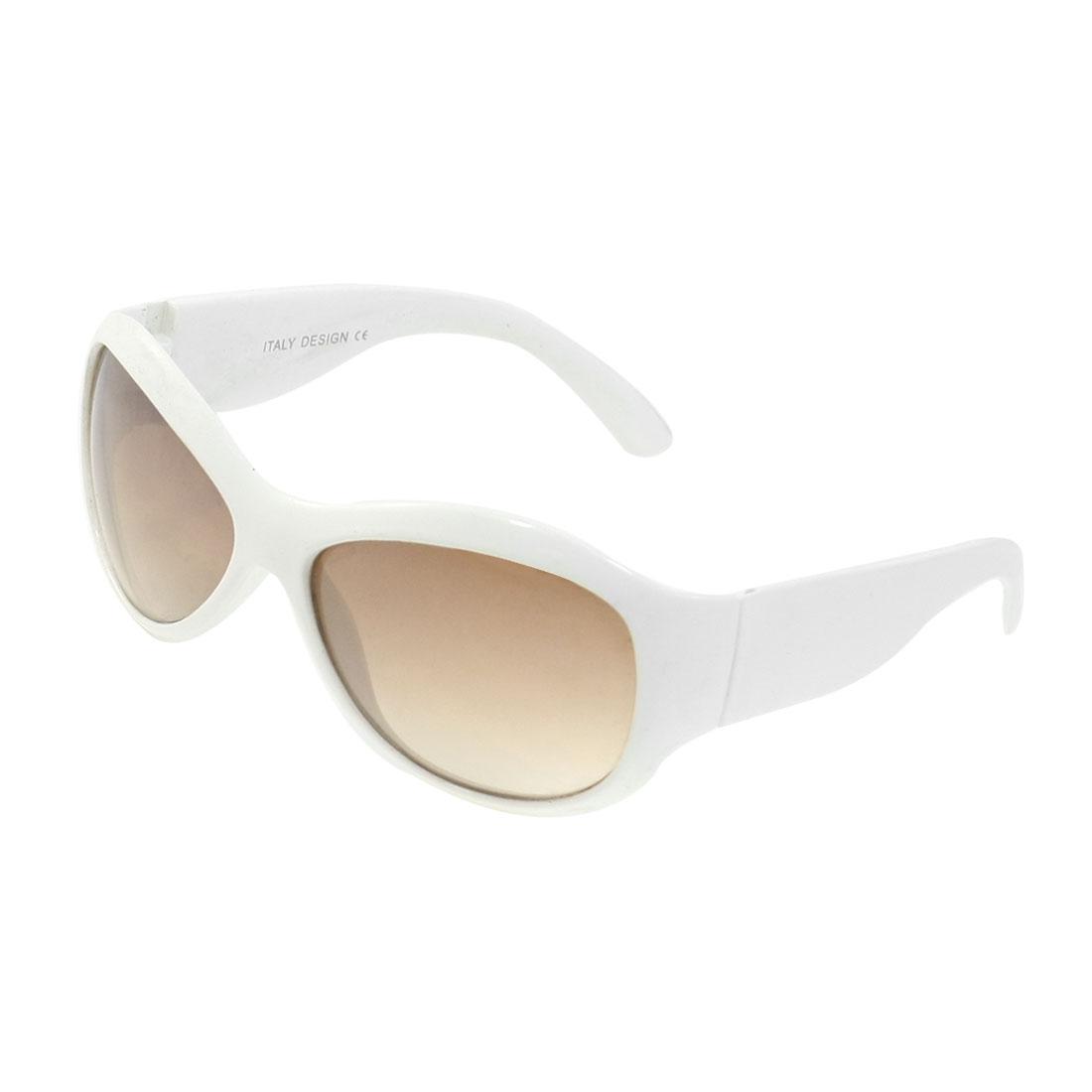 Waterdrop Shape Lens White Plastic Full Frame Sunglasses Eyewear for Lady