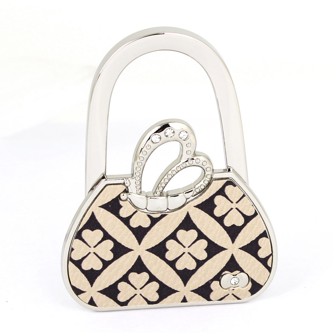 Clover Pattern Handbag Design Foldable Purse Hanger Holder Table Hook for Ladies