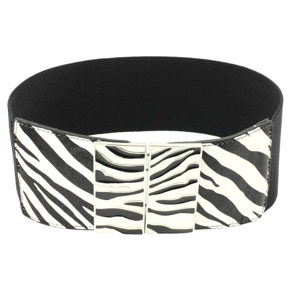 Zebra Print Interlock Buckle Black Textured Stretchy Wide Waist Belt for Woman