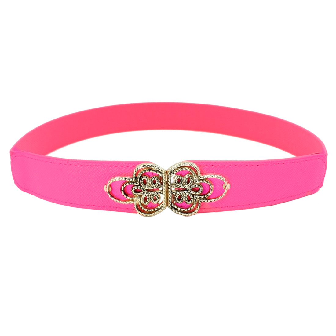 Ladies Chinese Knot Shape Metal Interlocking Buckle Stretchy Waist Belt Hot Pink