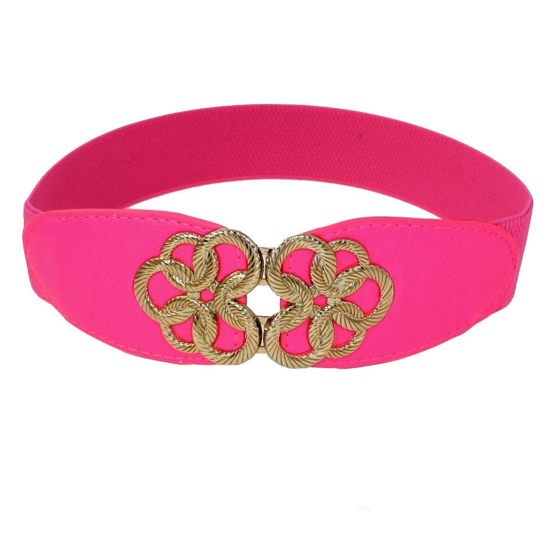 Ladies Knot Shaped Metal Interlocking Buckle Elastic Waist Belt Hot Pink
