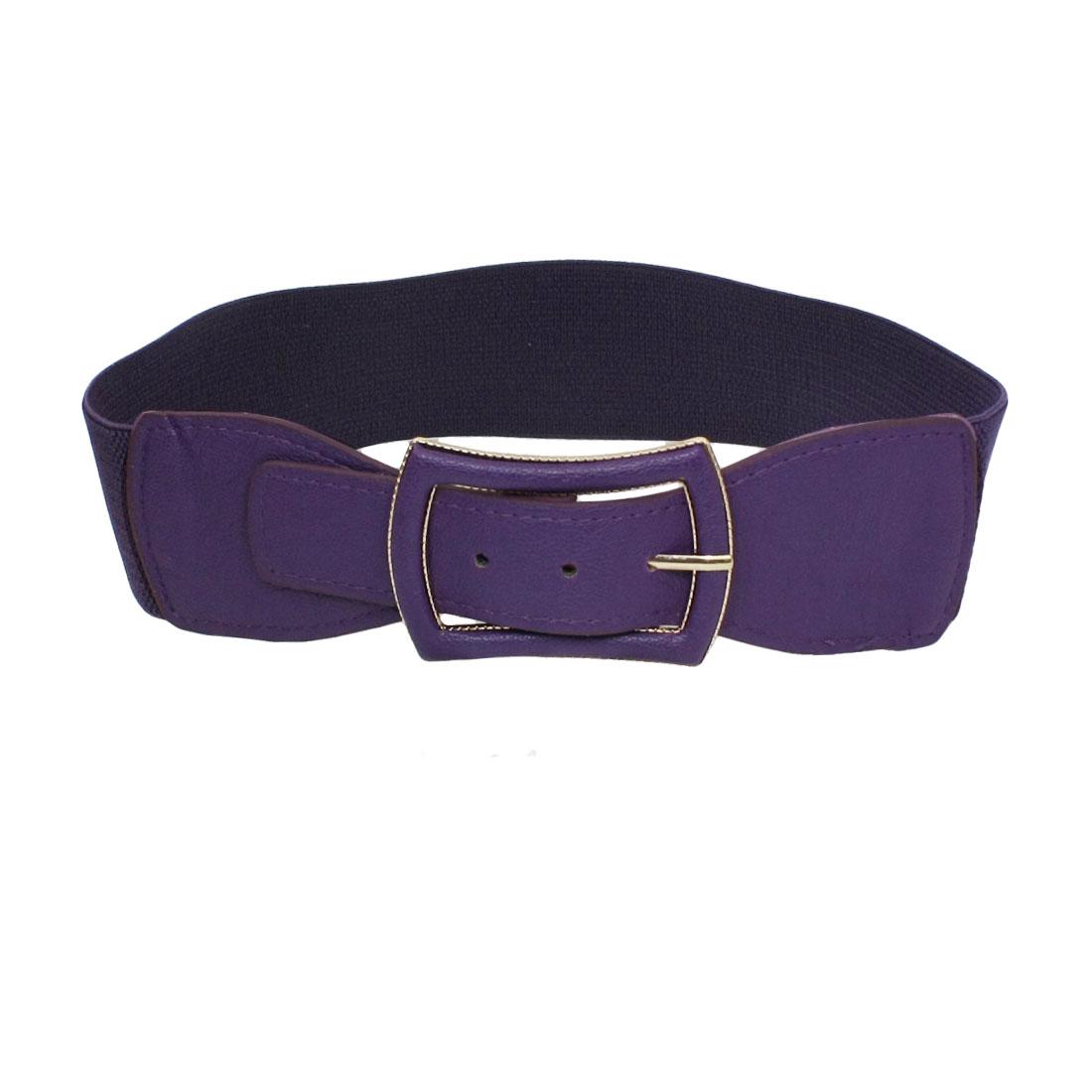 Women Single Pin Buckle Design Elastic Waist Belt Cinch Band Purple