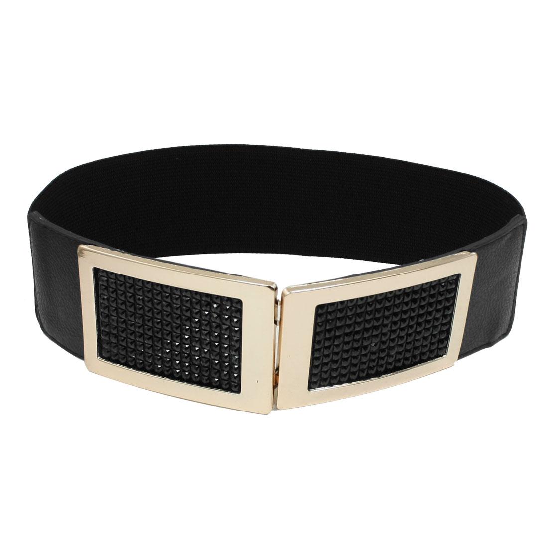 Women Facted Beads Inlaid Metal Interlocking Buckle Elastic Waist Belt Black