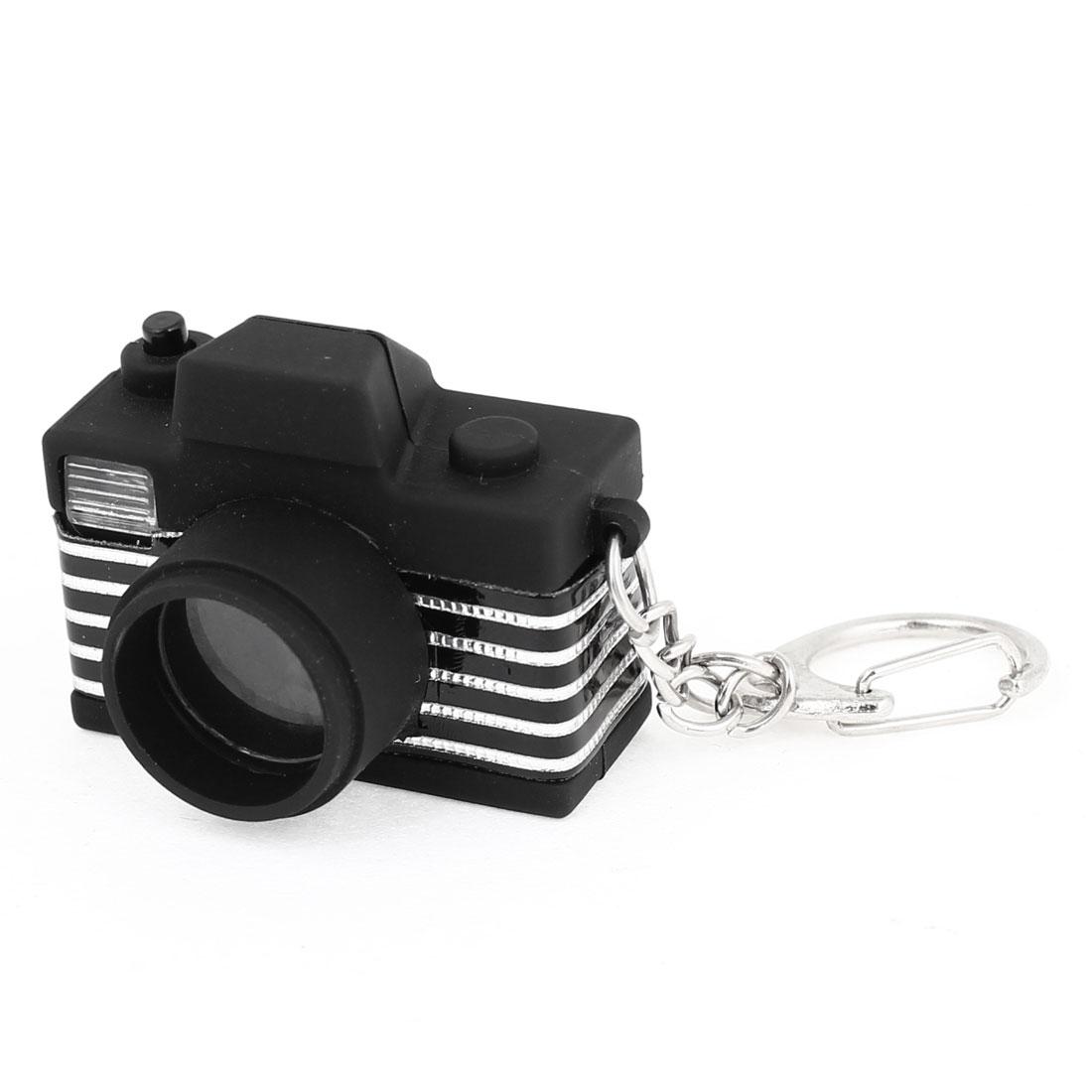 Black Silver Tone Mini Camera Style White Flash Light LED Keychain Gadget