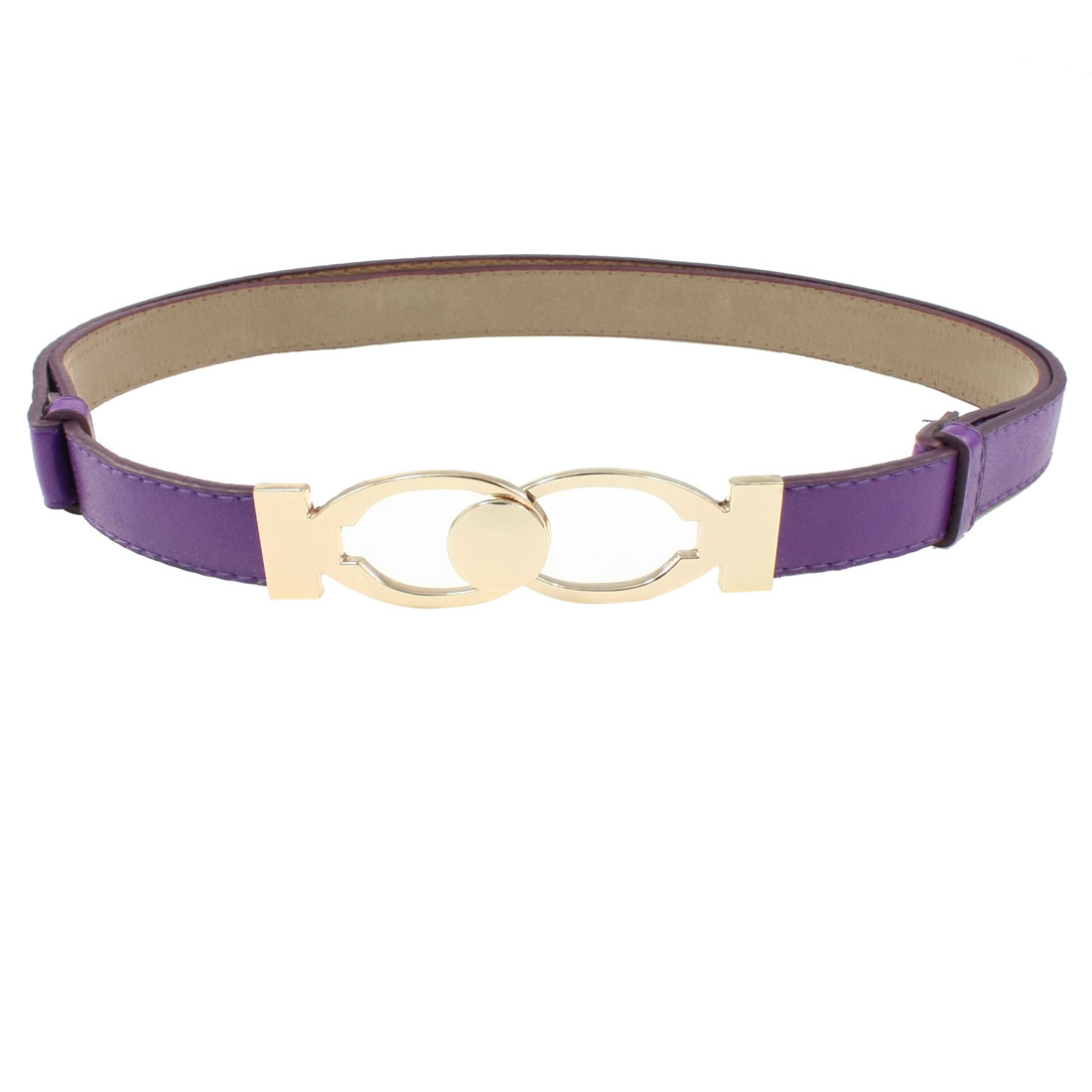 Interlock Buckle Purple Faux Leather Adjustable Sliding Waist Belt for Woman