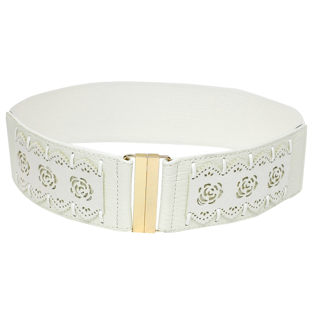 Metal Interlocking Buckle Flower Pattern Elastic Waist Belt White for Women