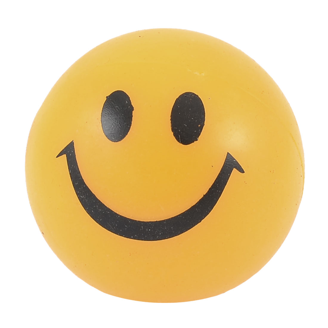 Yellow Black Soft PU Smile Facial Bouncing Flashlight Round Ball Toy for Child