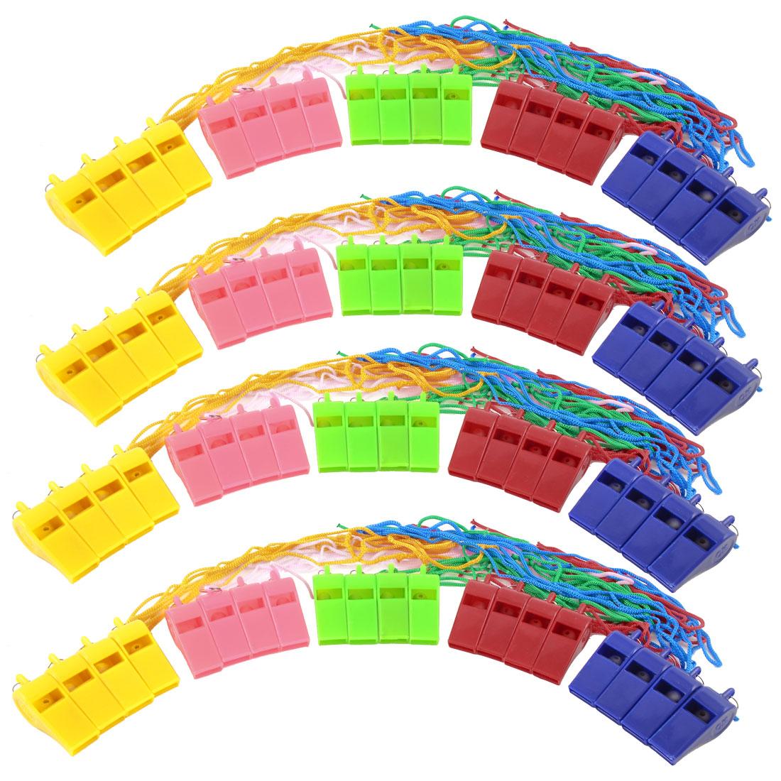20 Pcs Assorte Color Coach Nylon Neck StringReferee Type Whistles