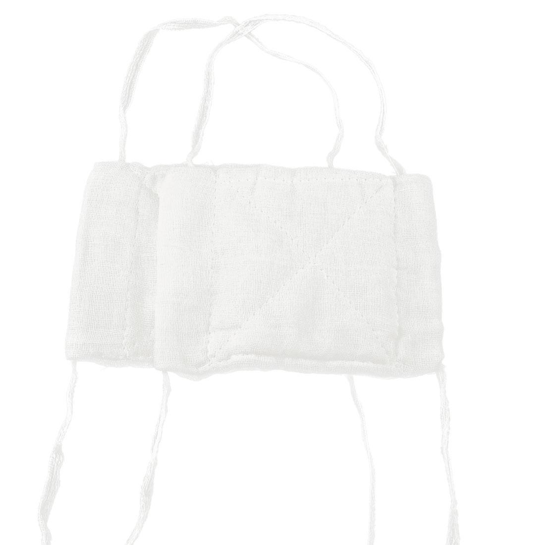 "Home 6.3"" Length Washable White Cotton Gauze Face Mask 2 Pcs"