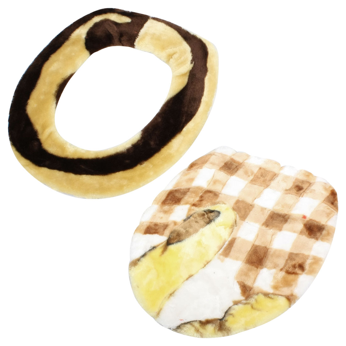Brown White Check Print Closestool Lid Mat + Oval Shape Toilet Seat Cover Set