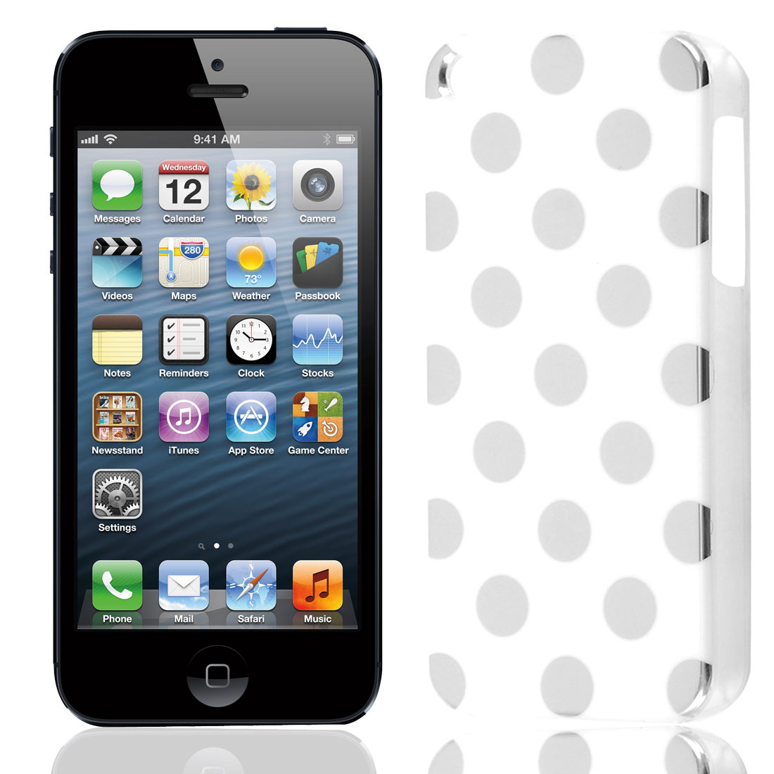 White Silver Plastic Small Round Dots Decor Back Case Cover for iPhone 5 5G 5th Gen