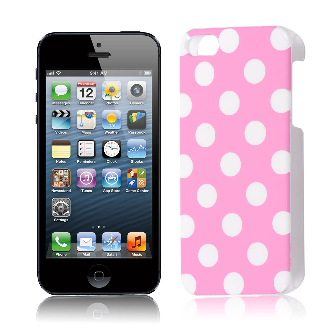 Pink White Plastic Small Round Dots Pattern Back Case Cover for iPhone 5 5G 5th Gen