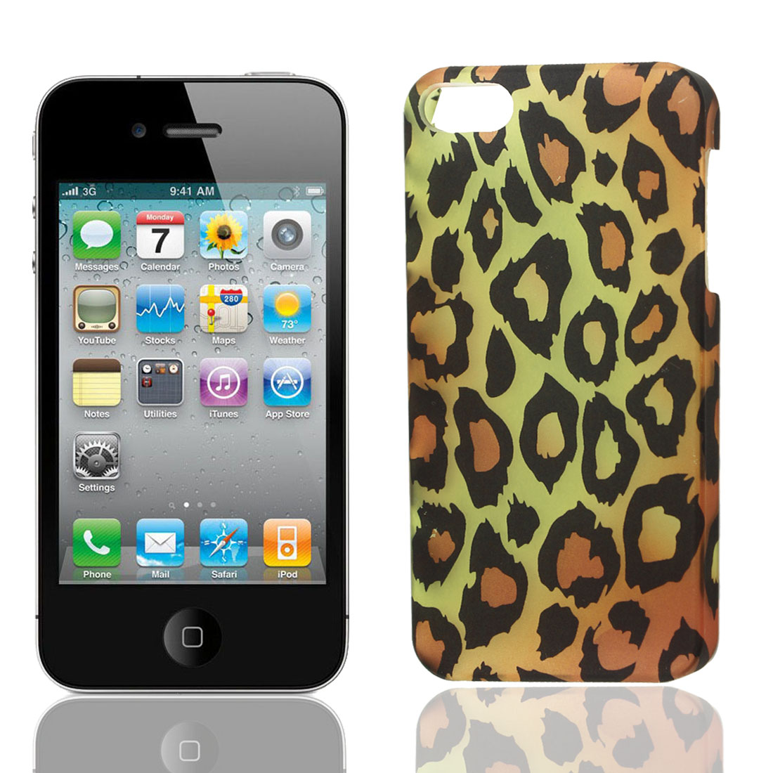 Leopard Pattren Plastic Back Case Shell Clear Yellow Black for Apple iPhone 5 5G