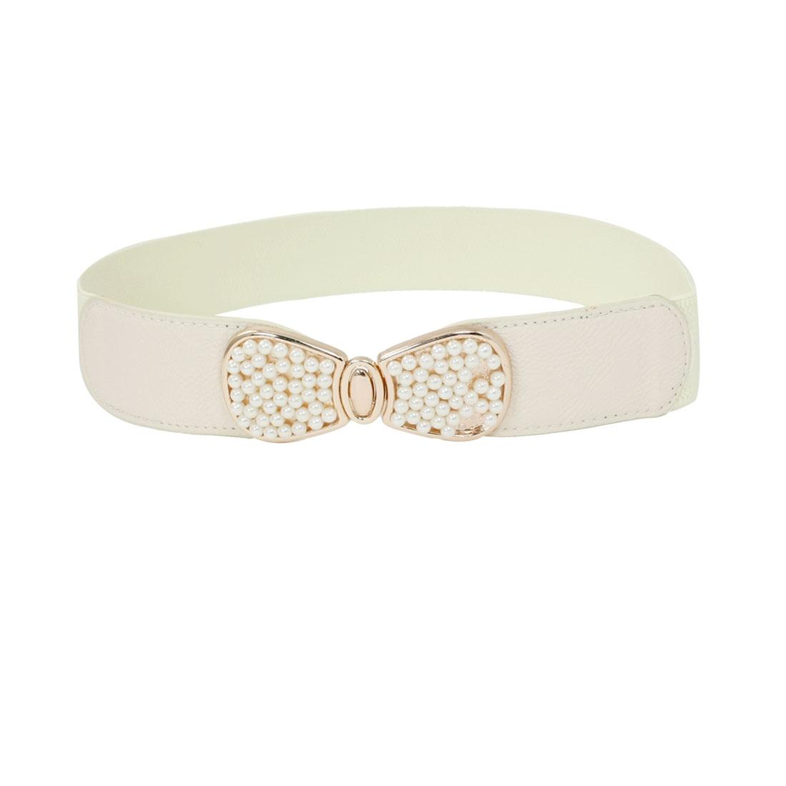 Women Plastic Beads Inlaid Bowknot Interlock Buckle Elastic Waist Belt Off White