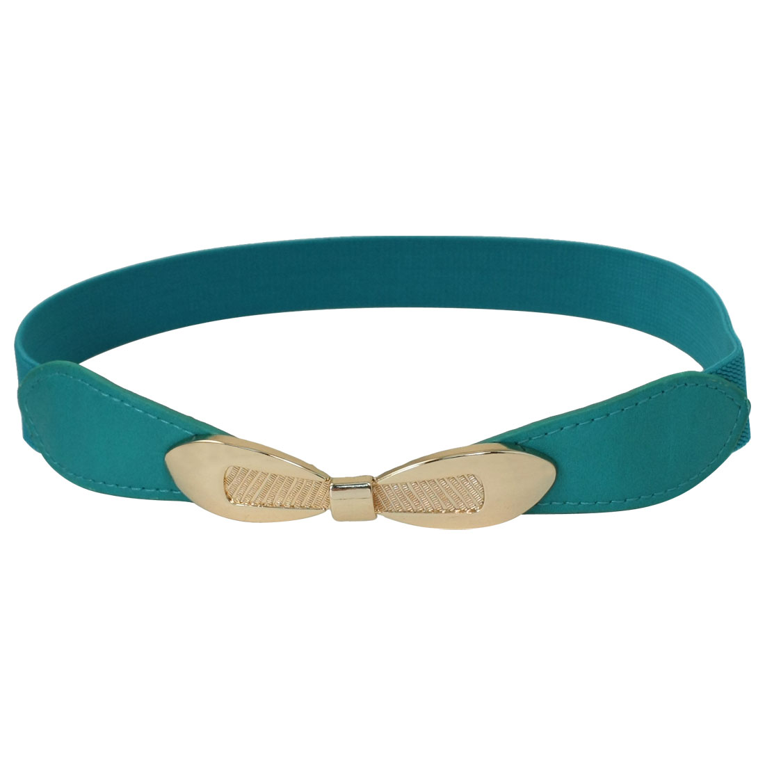 Ladies Bowknot Shaped Metal Interlocking Buckle Stretchy Waist Belt Teal