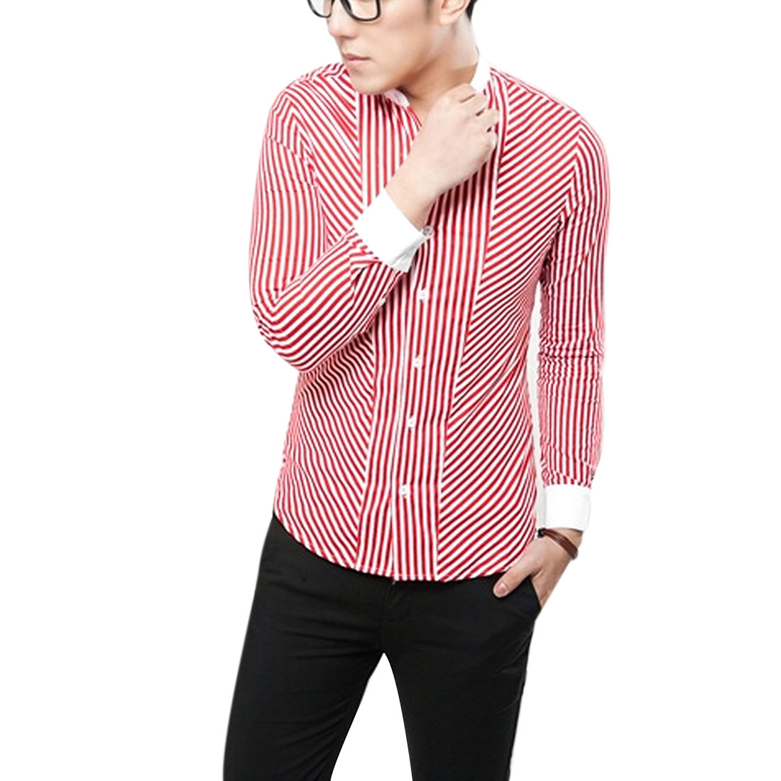 Men Stand Collar Buttons Cuff Red White Stripe Tee Shirt M