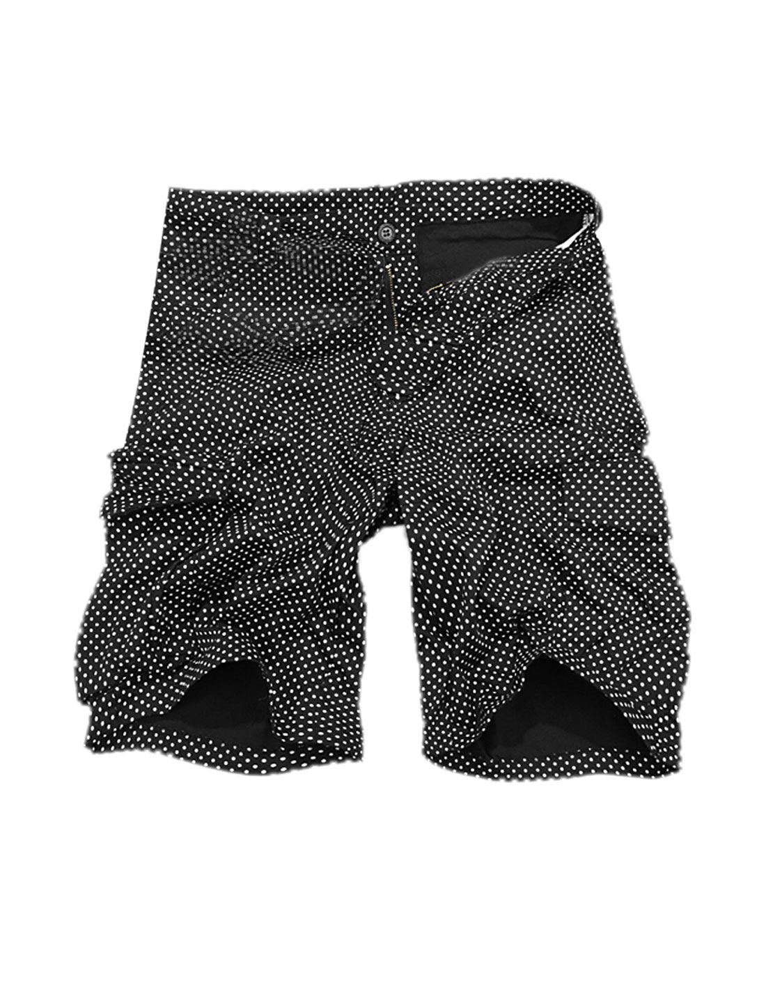 Man New Fashion Polka-Dotted Prints Loose Fit Black Casual Short Pants W32