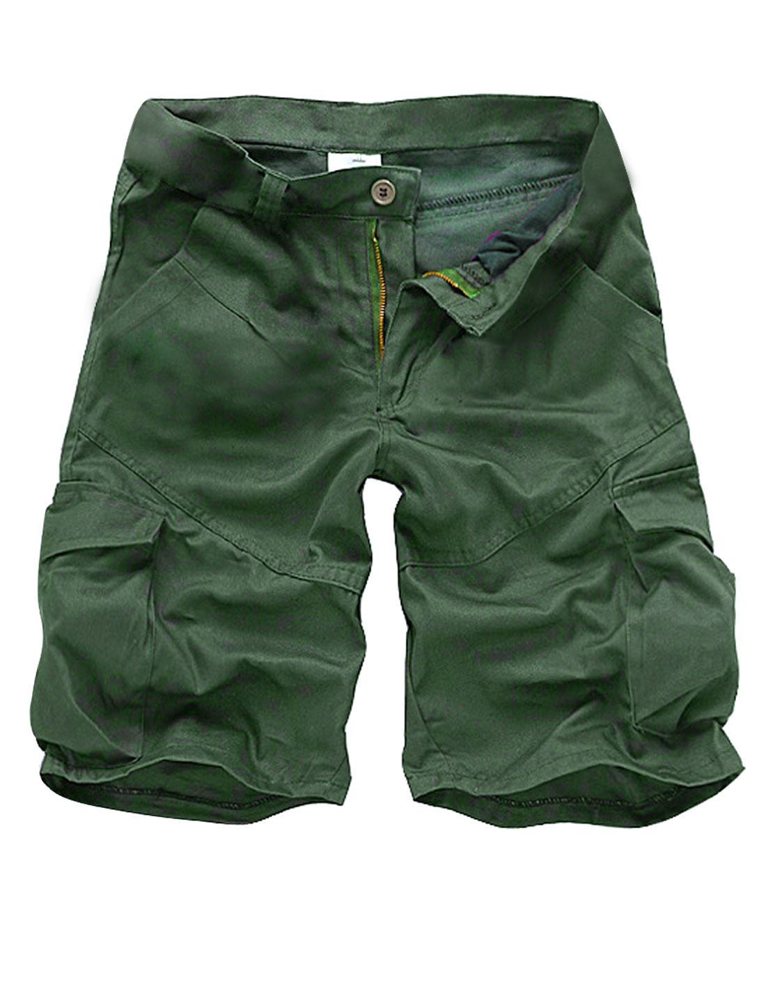 Men Waistband Loop Zip Closure Slant Pockets Casual Short Pants Army Green W34