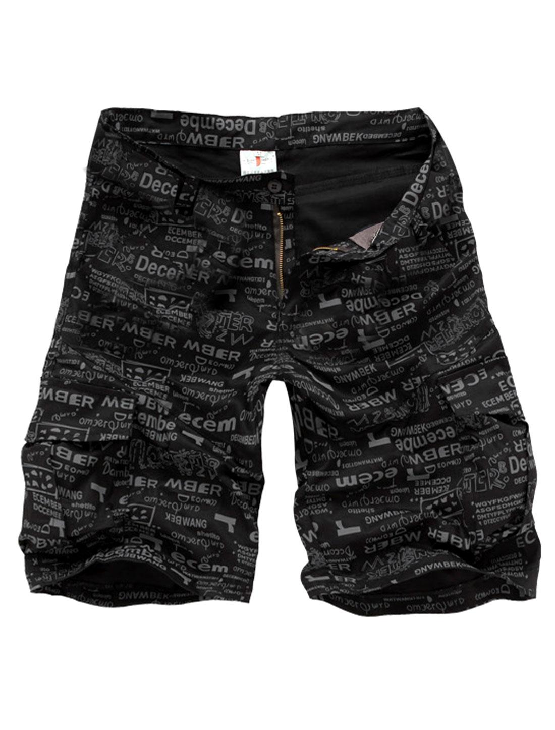 Men Waistband Loop Zip Closure Slant Pockets Letter Prints Hip Pockets Short Pants Black W34