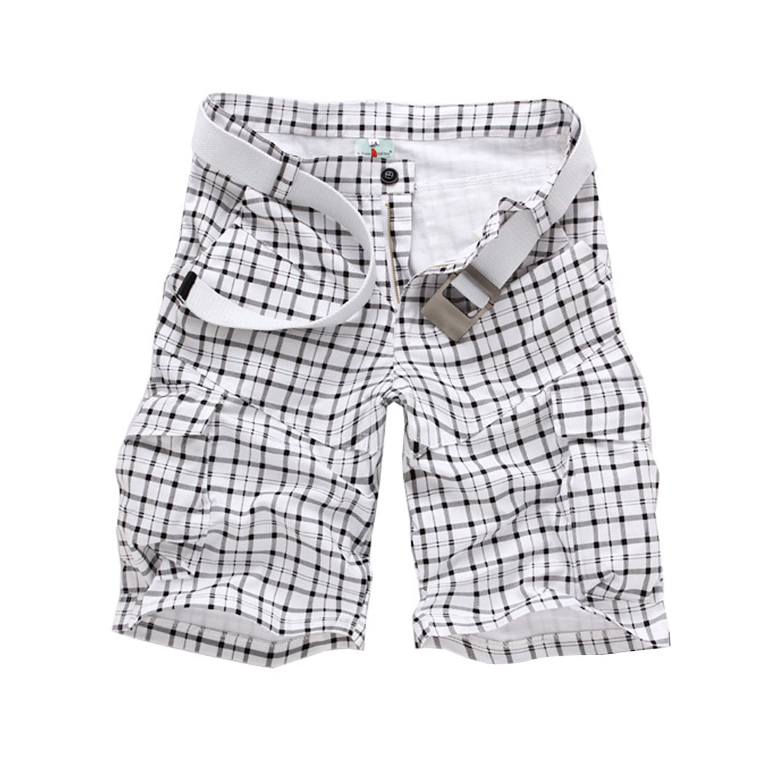 Men Waistband Loop Zip Closure Slant Pockets Plaids Hip Pockets Short Pants White W34