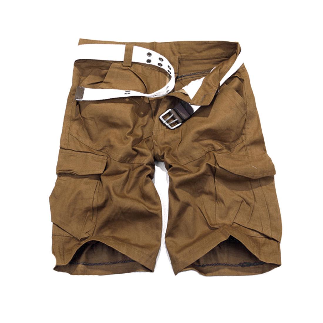 Men Waistband Loop Zip Closure Solid Color Casual Short Pants Camel W34