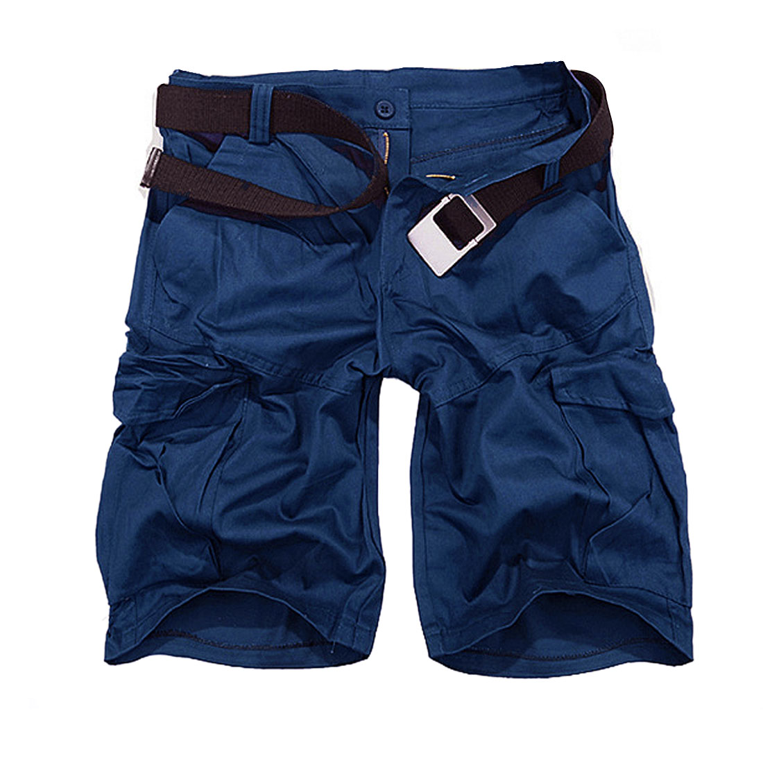 Men Waistband Loop Zip Closure Side Pockets Casual Short Pants Royal Blue W34