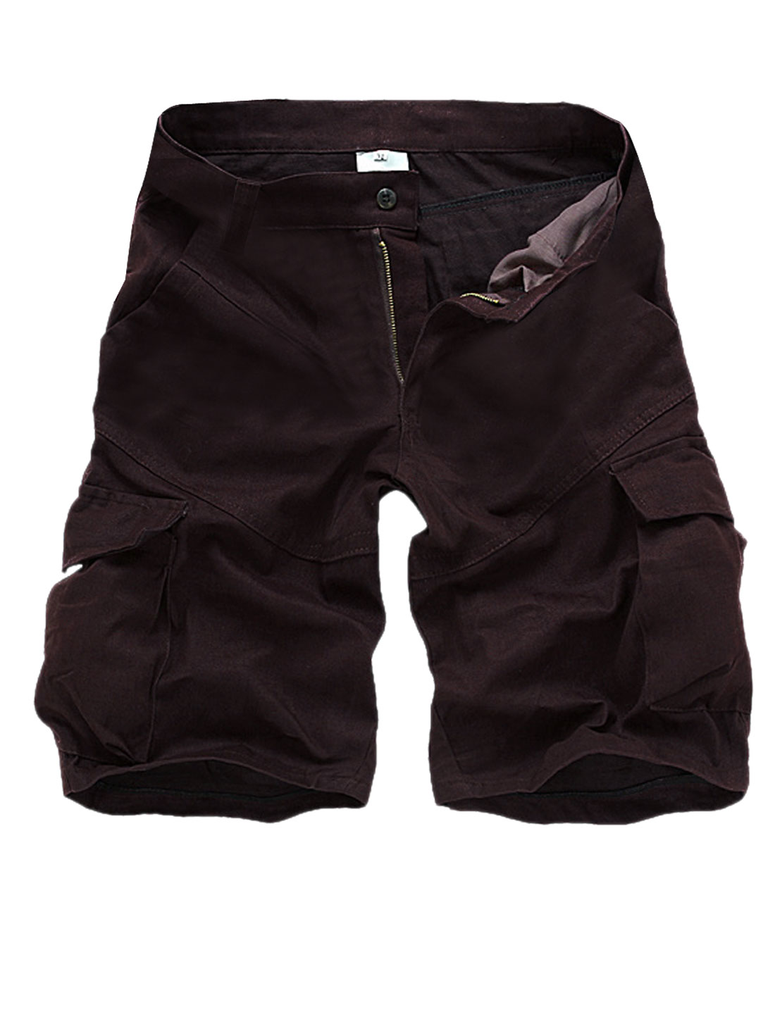 Men Waistband Loop Zip Up Cover Hip Pockets Casual Short Pants Dark Plum W34