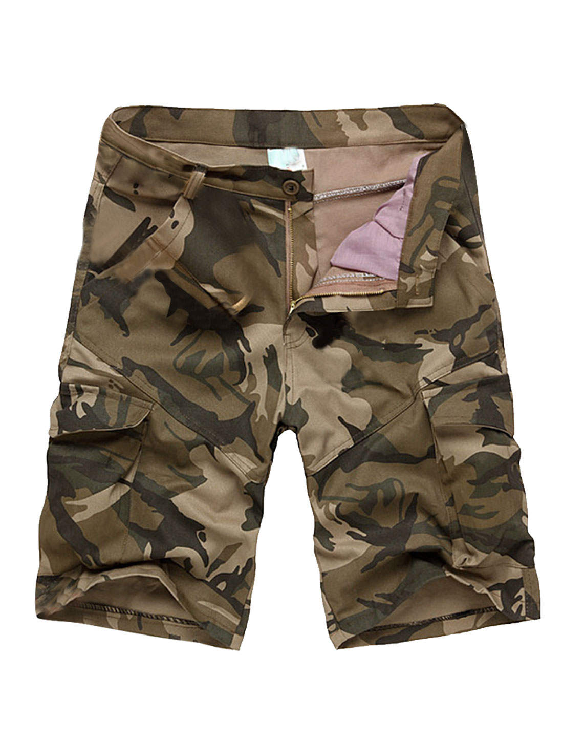 Mens Fashion Zipper Fly Camouflage Pattern Hip Cargo Pockets Khaki Shorts W32