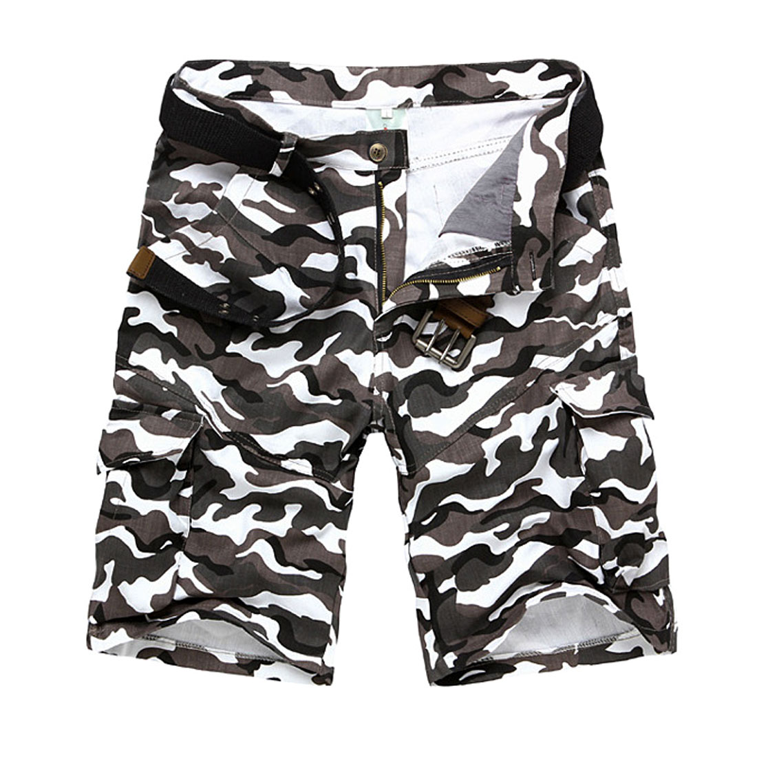 Man Fashion Gray Camouflage Pattern Hip Cargo Pockets Design White Shorts M