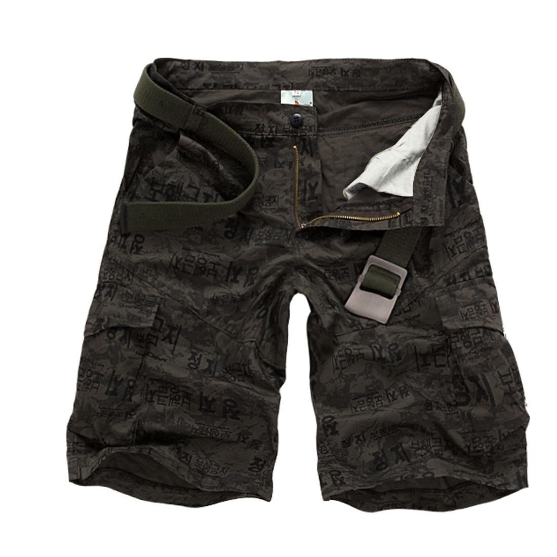 Men Waistband Loop Zip Up Slant Pockets Korean Letter Prints Short Pants Army Green M