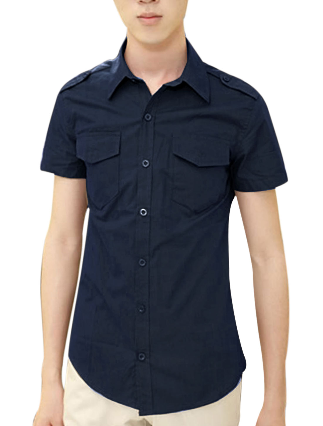 Men Short-sleeved Buttons Front Flap Pockets Shirt Dark Blue M